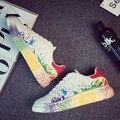 2016 Nueva Moda de La Venta Caliente Mens de la Marca de Zapatos Casuales Zapatos Transpirables de Alta Calidad de Cuero de LA PU Con Cordones zapatos Para Caminar Estudiantes Zapatos blancos