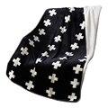 Белые кресты простой черный двойной лицо толстое одеяло мягкий коралловый флис ткань многофункциональный печатный одеяло 110 х 150 см