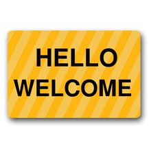 Door Mat Entrance Hello welcome  Doormat Non-slip 23.6 by 15.7 Inch Machine Washable Non-woven Fabric