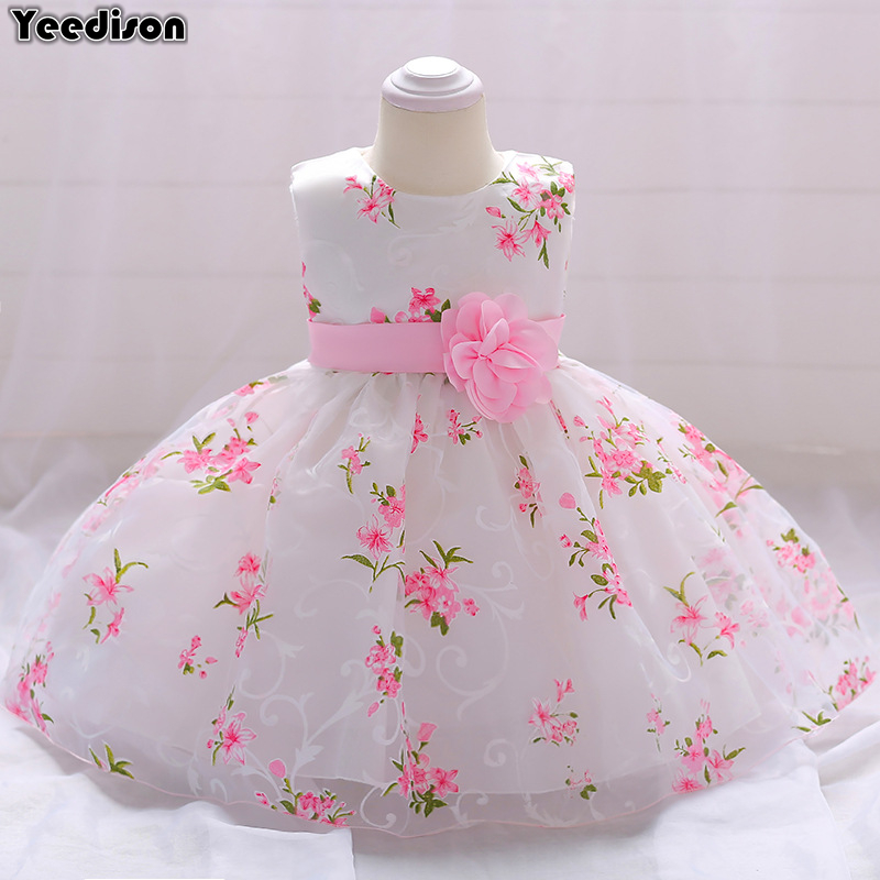2018 Newborn Baby Girl Dresses Flower Princess Party And Wedding Christening Dress Gown For Baby Girl Infant 1st Birthday Outfit