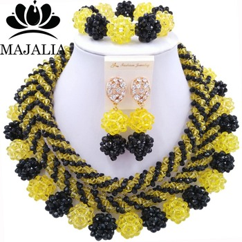 Trendy Nigerian wedding African beads jewelry set crystal yellow necklace bracelet earrings A well-known brand Majalia  Y-11
