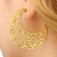 VAROLEV Trendy Moon Shape Drop Earrings for Women Vintage Hollow Out Gold Sliver Color Dangle Earrings Jewelry 4574