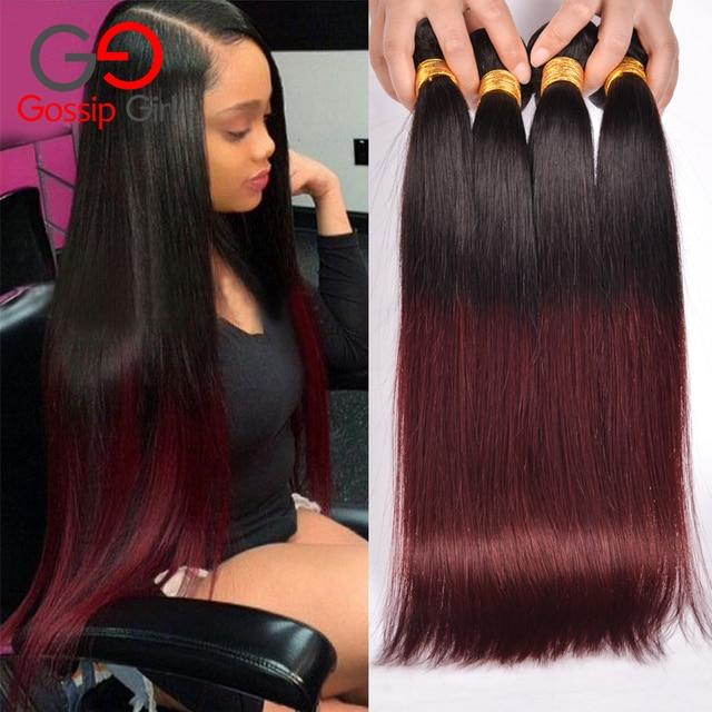 7А Бразильский Прямые Волосы 1B99J/Бордовый 4 Связки Бразильский Weave Волос Связки Прямые Волосы Два Тона Человеческие Волосы Пучки
