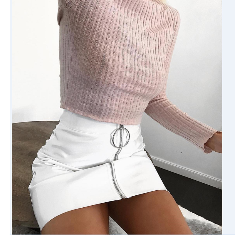 Sexy Women Fashion High Waist Zip Faux Leather Short Pencil Bodycon Mini Skirt 2019 New Solid White Skirt