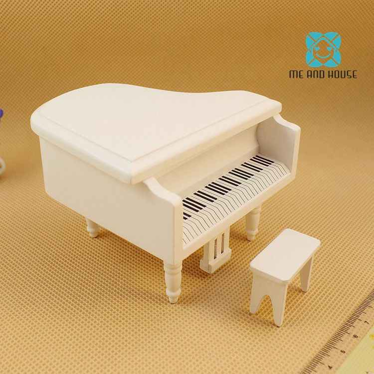 Dollhouse Wooden Miniature Music Instrument White or Black Wooden Small Piano and stool 1/12 scale