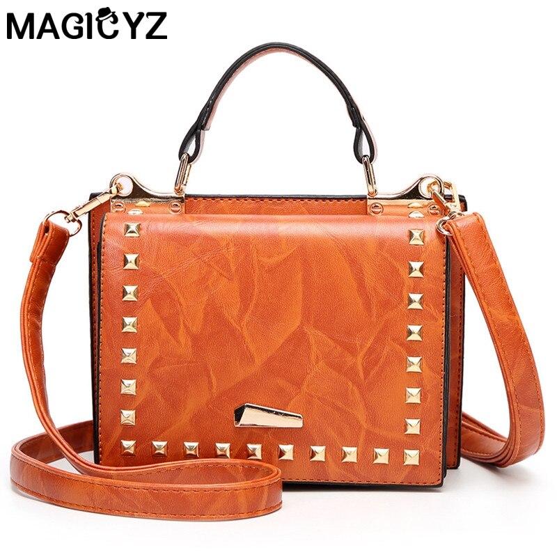 MAGICYZ NEW Women bags Vintage Female handbags High Quality PU Leather Lady hand bags Fashion Rivet women Shoulder Bags