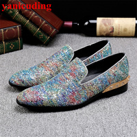 Round Toe Bling Slip On Shoes Rivets Embellished Heel Men Casual Shoes Low Top Loafer Lazy Shoes Sequined Cloth Leather Flats