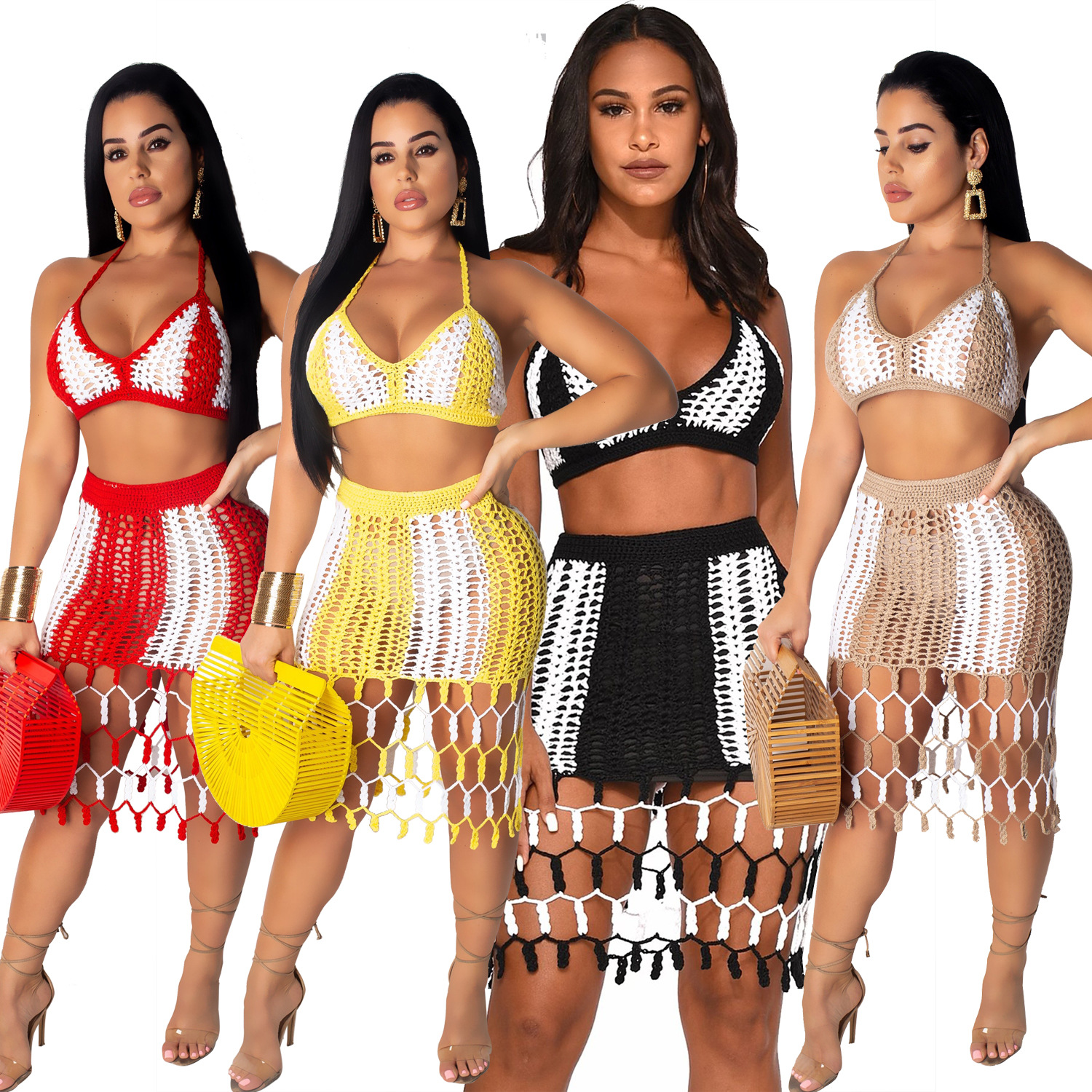 Two-tone Stitching Hand-woven Bikini Top Mesh Short Skirt Suit Sexy Casual Beach Ladies AJ4072 Four-color