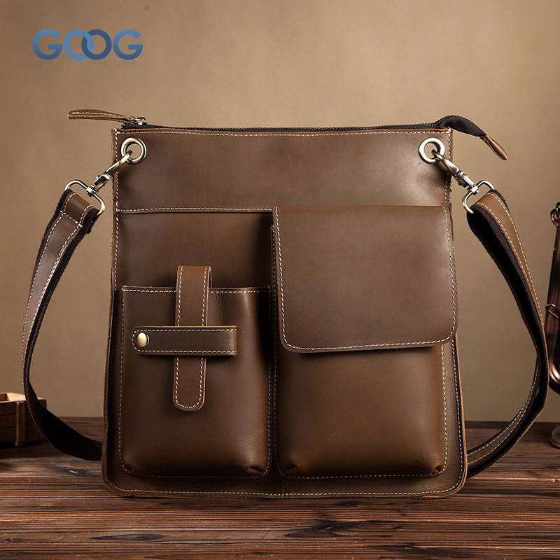 Vertical section square first layer of leather men bag crazy horse skin leisure retro single shoulder diagonal package fashion t fashion men s single shoulder bag leisure portable oblique satchel tide restoring ancient ways crazy horse leather laptop pu