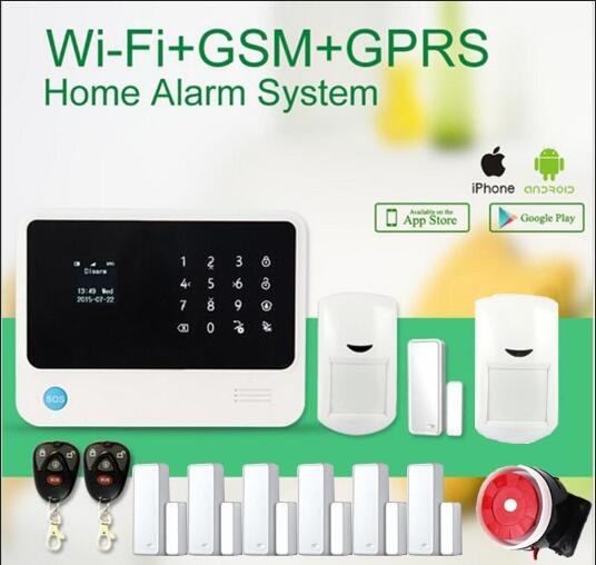 433MHZ wifi gsm alarm system LCD touch panel home security burglar alarm system IOS /Android APP control protect home safe ios android app smart control wireless gsm touch lcd shock window home secure burglar system