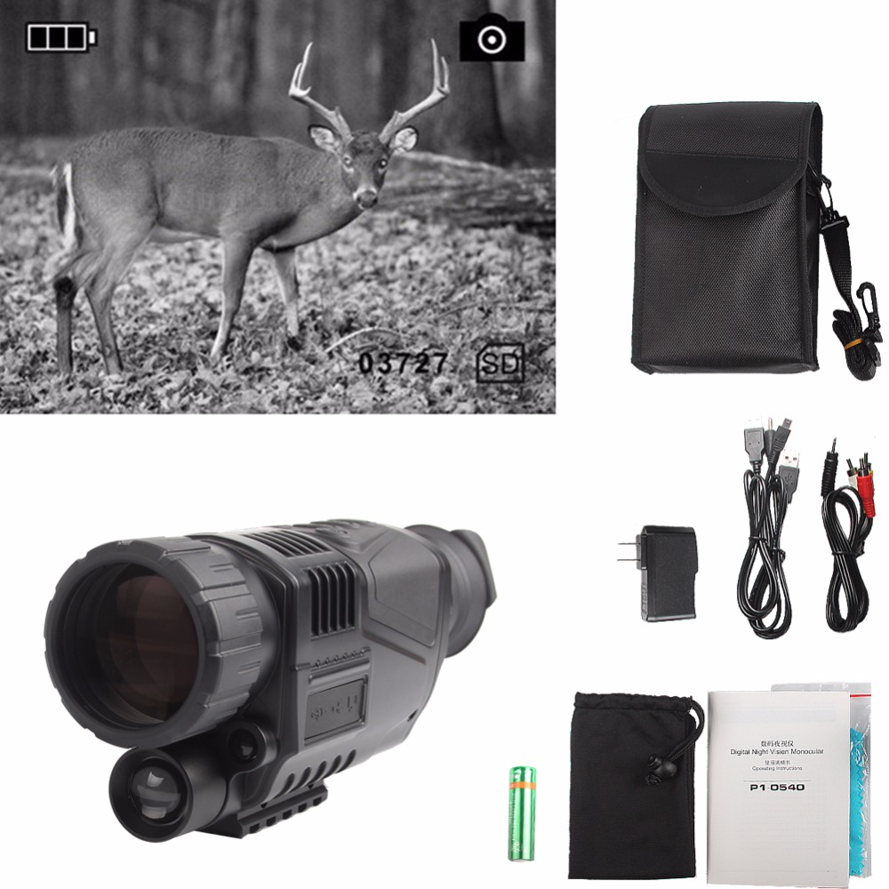 Digital Infrared Night Vision IR Scope Sight Device Monocular 5x40 Zoom Take Photos/Videos + Inner 4GB SD Card 29-0003 dhl shipping infrared digital night vision monocular scope 5x40 for 200meter zoom 5x ir 5mp digital camera video in ccd