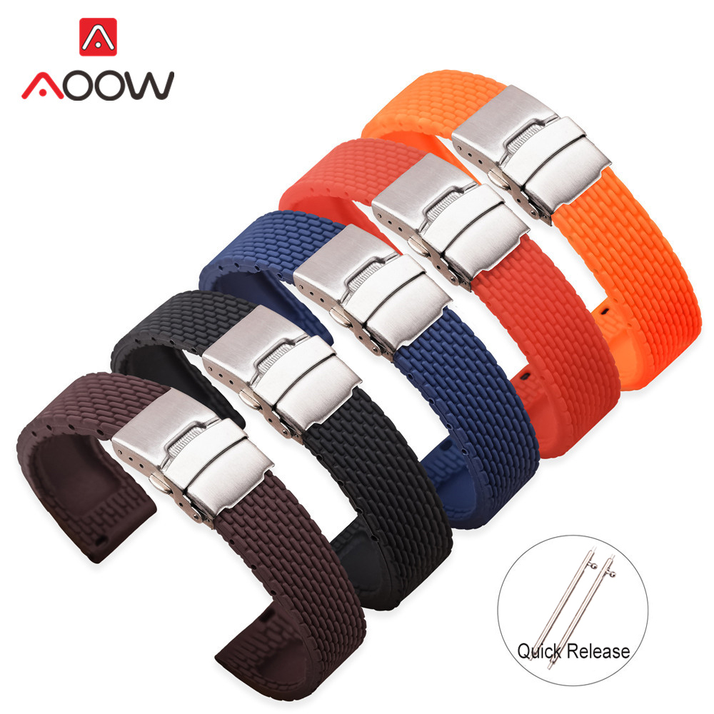 18mm 20mm 22mm 24mm Soft Silicone Quick Release Watchband Rubber Metal Folding Buckle Replace Bracelet Band Strap Accessories