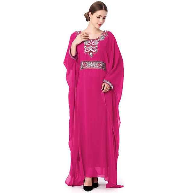 placeholder Muslim Maxi Dress Women Print Abaya Burka Kaftan Arab Robes  Kimono Islamic Dresses Dubai Turkey Colorful ff402252c097