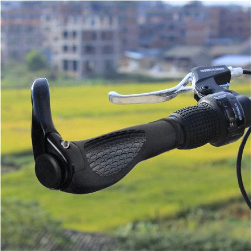1 pair Bike Handlebar Rubber Cycling Handlebar Grips Anti-Skid Rubber Bicycle Grips Mountain Bike Lock On Bicycle Handlebars End