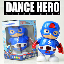 19CM Dance Hero Avengers Super Hero Captain America Action Figure Toys Led Flashlight And Music