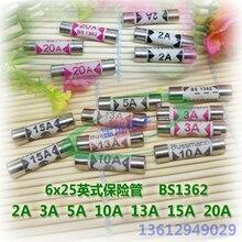 10 шт./BS1362 10A 15A 20A керамическая трубка Предохранителя 6x25