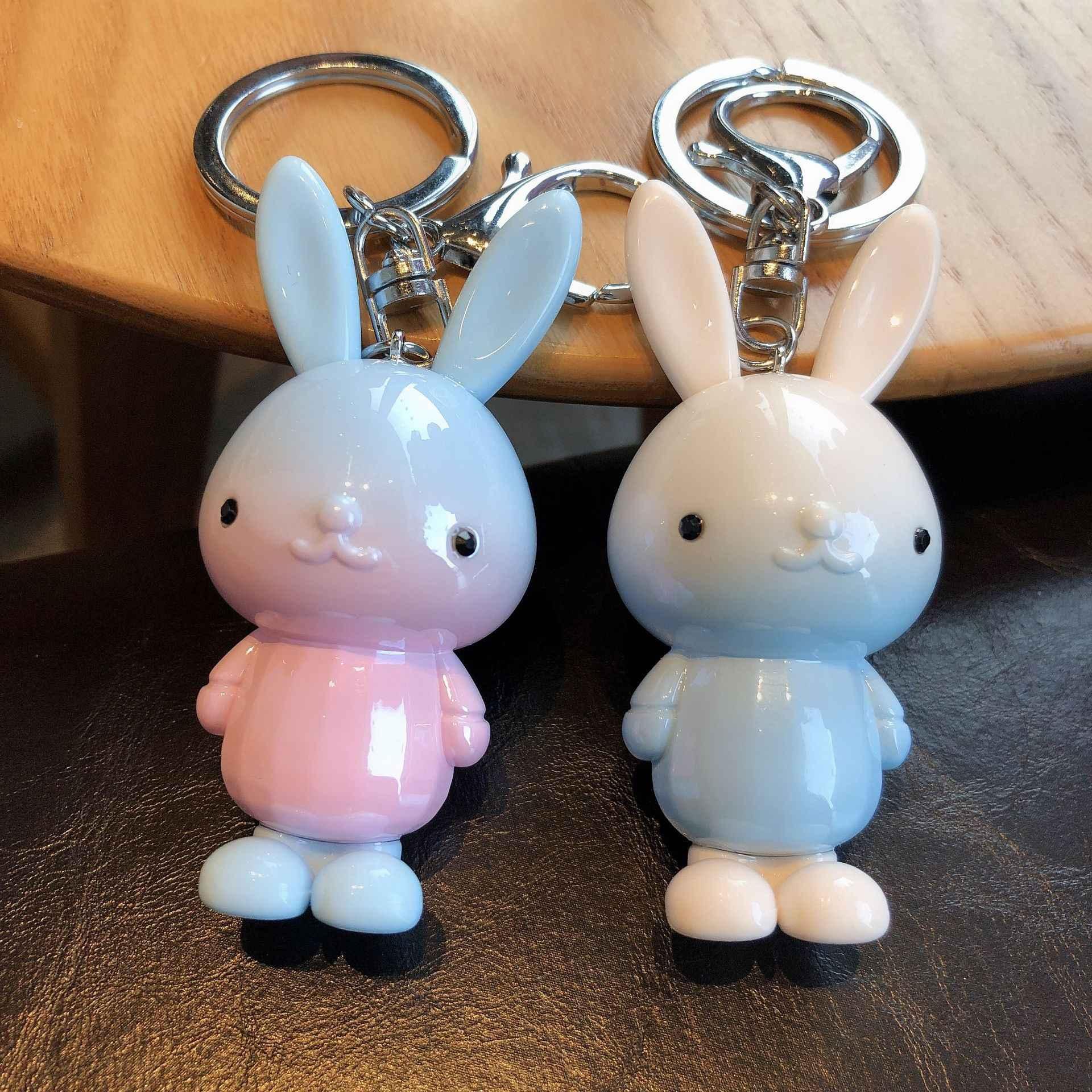 2019 หูยาวกระต่าย Key Chain แหวนสี Gradient กระต่ายเครื่องประดับชุดของขวัญจี้รถมินิของเล่นรถของขวัญ