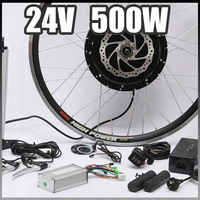 E Bike 24V 500W Motor With Disc Brakes Hub Electric Bicycle Ebike Conversion Kit Front Or