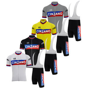 cycling clothing black summer white yellow Men cycling jersey set retro bib  shorts d5e556e15