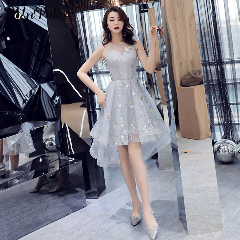 Gray Star Lace High Low Graduation Dresses 2019 Elegant O-Neck Sleeveless Tulle Short Homecoming Dresses