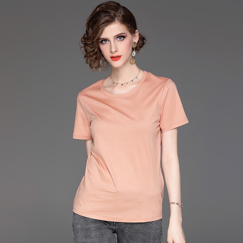T-shirt femmes couleur unie t-shirt 2019 été nouveau 100% mercerisé coton t-shirt à manches courtes col rond hauts à la mode S-XL