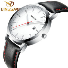 Binssaw 2017 кварцевые часы ультра-тонкие мужские роскошные модные брендовые часы водонепроницаемый кожаный ремешок бизнес-роли человек наручные часы