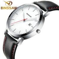 BINSSAW 2017 Quartz Watch Ultra thin Men Luxury Fashion Brand Watches Waterproof Leather Strap Business Role Man Wrist Watches