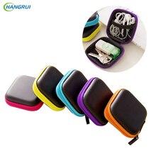 HANGRUI Portable Zipper Hard Headphone Case PU Leather Earphone Bag Protective Usb Cable Organizer Mini Earbuds Pouch Case