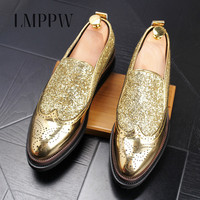 Top Brand Bullock Carved Leather Shoes Slip On Men Brogue Party Shoes Fashion Comfortable Men Oxfords