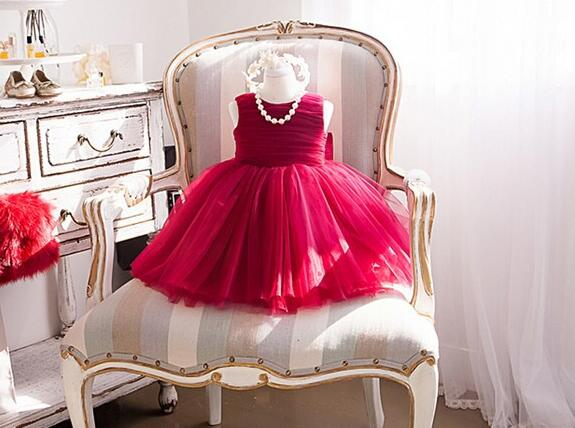 2017 Four Seasons Newborn Formal Dress Red Sleeveless Infant Baptism Ball Gown Dress Clothes For Toddle First Birthday Party
