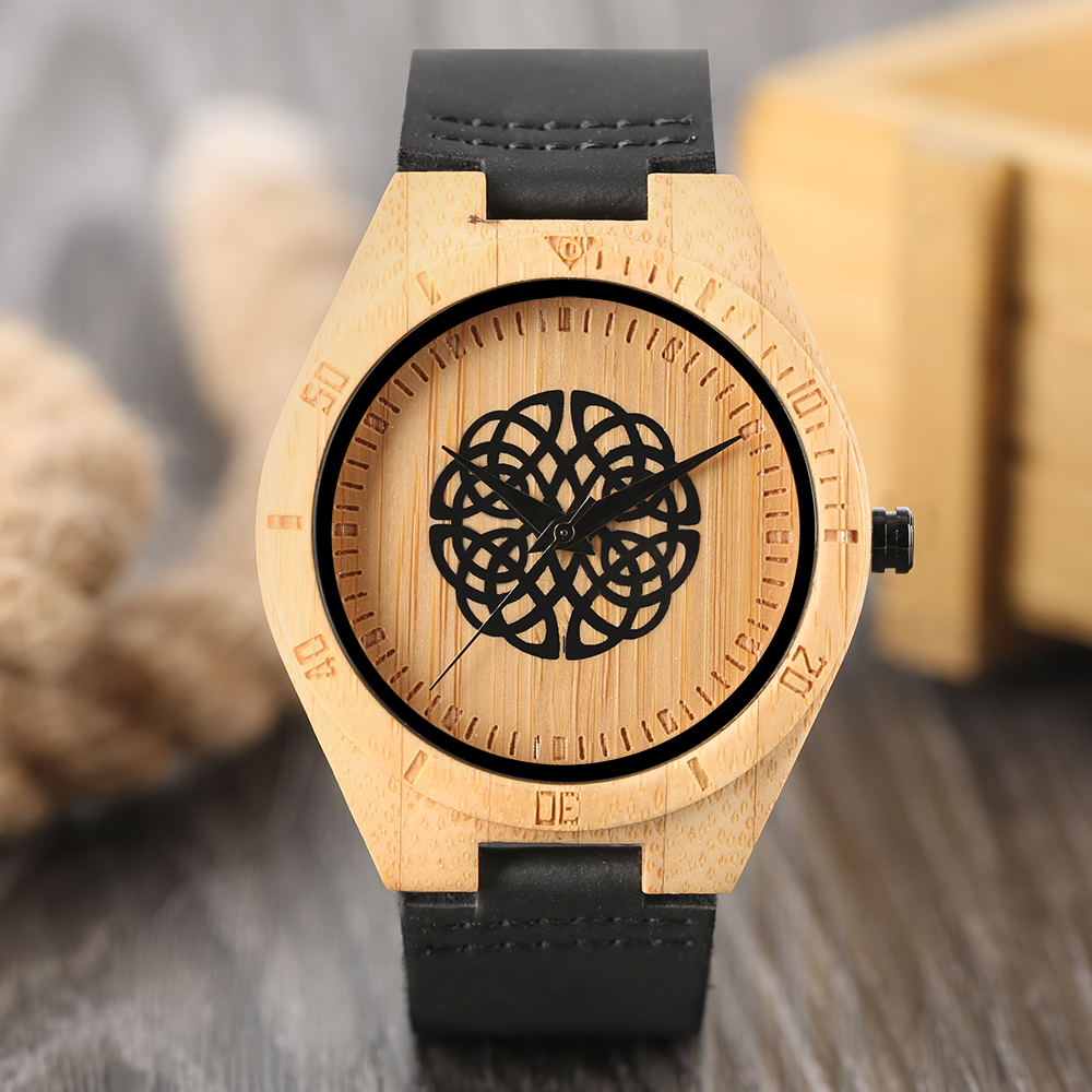Unique Handmade Natural Bamboo Wood Watch Analog Mens Simple Quartz Wristwatch Male Genuine Leather relogio masculino esportivo classic style natural bamboo wood watches analog ladies womens quartz watch simple genuine leather relojes mujer marca de lujo
