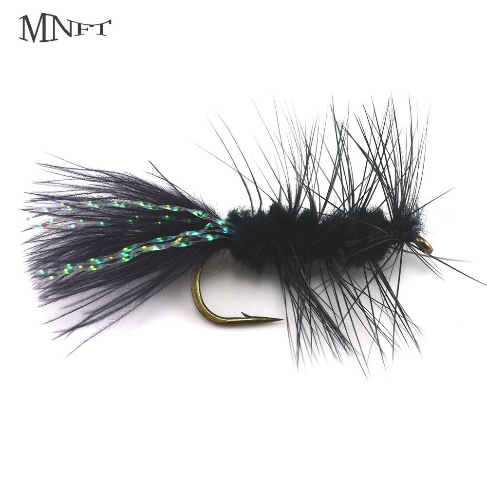 MNFT 10PCS 6# Black Woolly Bugger Flashabou Crystal Flash Tail Fly Fishing Worm Bass Dry Hooks