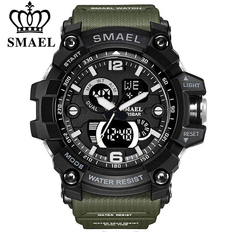 SMAEL Montres Hommes Analogique Quartz Numérique Montre Étanche Montres de Sport pour Hommes Silicone LED Électronique Militaire Horloge Masculino