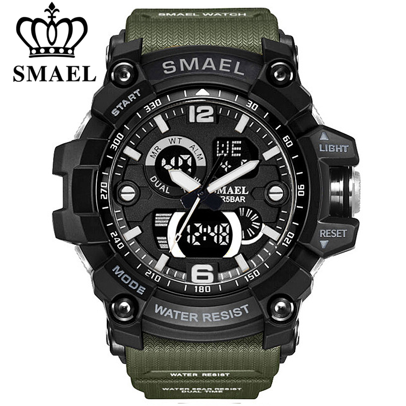 SMAEL Watches Men Analog Quartz Digital Watch Waterproof Sports Watches for Men Silicone LED Electronic Military Clock Masculino