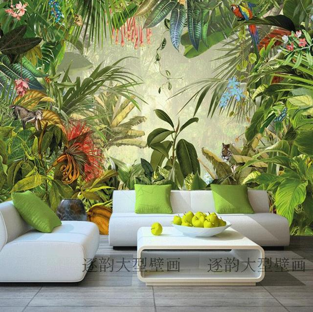Free Shipping Southeast Asian Plants Tropical Trees Green Garden Wallpaper Living Room Bedroom TV Background
