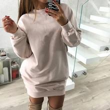 Warm Autumn Winter  fleece Dresses Long Sleeved Casual Mini Dress Sportwear loose Sweatshirts