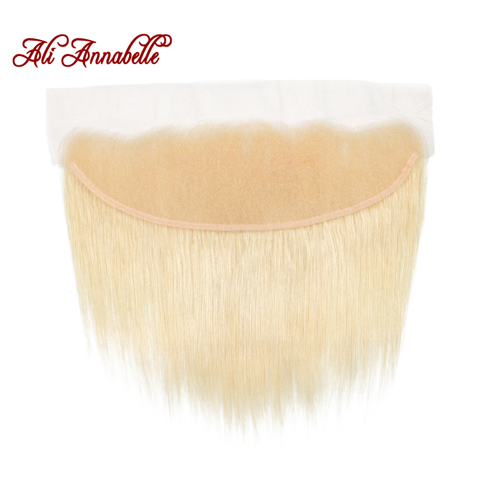 Peruvian Human Hair Straight Blonde Color Ear To Ear Lace Frontal Human Hair 13x4 613 Lace Front Middle/Free Part Remy Hair