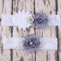 Encaje blanco de gran tamaño cristales liga de la boda Sexy pierna liga nupcial Portaligas Mujeres liguero establece Giarrettiera 1 Unidades