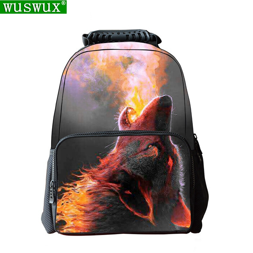 New Fashion Cool School Bag Firefox 3D Printing Children Backpack Personality School Backpack Large Capacity Student Backpacks