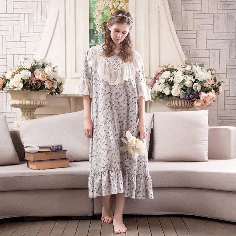 2019 New Vintage Princess Fashion Floral Lady Sleepwear Women's Cotton Nightgown Sweet Lace Nightdress Women Pyjamas Nightshirt