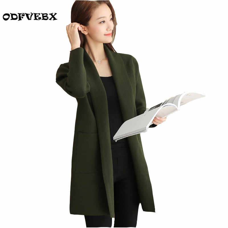 Boutique large size knit Sweater women long-sleeved coat medium-sized fall winter fashion new cardigan sweater women tideODFVEBX