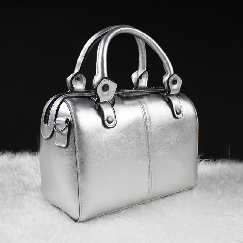 ФОТО Vintage Boston Bags with double color oil wax cowhide office OL ladies top-handle bag evening tote female party handbags