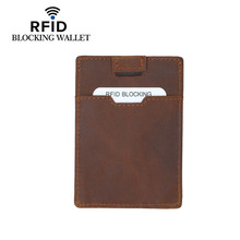 New Genuine Leather Credit Card Case Rfid Blocking Wallet for Credit Card Vintage Card Organizer Rfid Card Protection Cardholder цена 2017