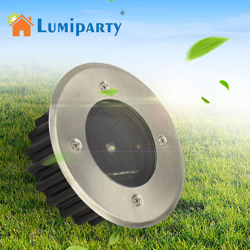 LumiParty Solar LED Buried Floor Lights Stainless Steel Underground Lamps Ground Garden Lamp Waterproof Solar Lighting