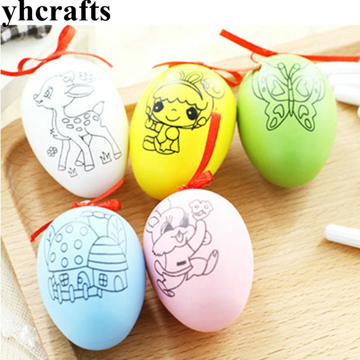 3pcs Lot Paint Unfinished Colorful Eggs Kindergarten Arts Drawing