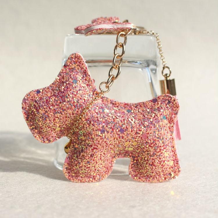 Fashion Rhinestone Crytal Leather Dog Keychain Animal Puppy Key Chain Key Ring Key Holder Women Bag Pendant Accessaries