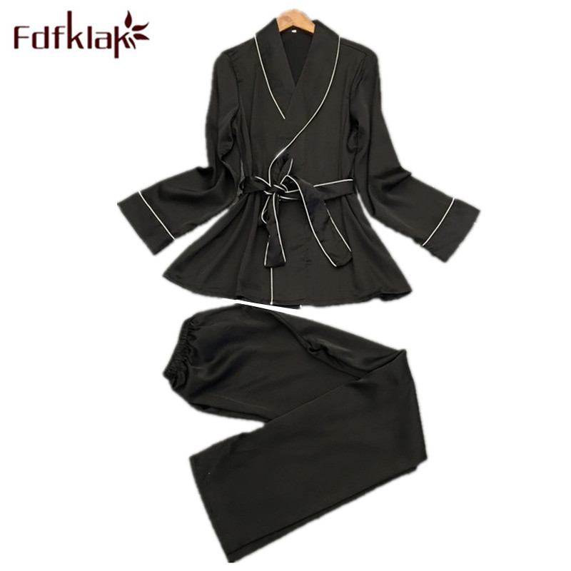 Fdfklak Black/Navy Sleeping Wear Sexy Pajamas Pyjama Femme Pijamas Women Silk Sleepwear Set Spring Summer Home Clothes Q1269