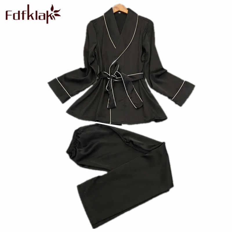 Fdfklak שחור/כהה שינה ללבוש סקסי פיג 'מה Pyjama פאטאל פיג' מות נשים משי הלבשת סט אביב קיץ בגדי בית Q1269