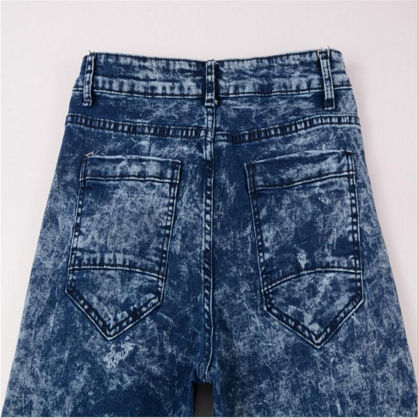 Mens Blue Skinny Jeans Oblique Zipper Pencil Pants Slim Jeans Good quality Denim Jeans Men Spring Slim Long jeans