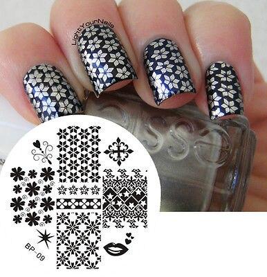 Mezclar Patrones Nail Art Sello Plantilla Placa de la Imagen NACIDO PRETTY #09 H